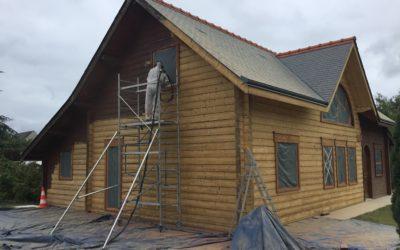 Aerogommage façades maison bois Indre et Loire